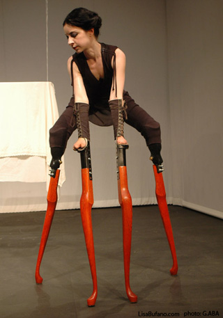 Lisa Bufano on 28 inch table leg stilts